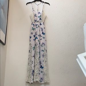Candie's Dresses - Candies long white butterfly dress size S